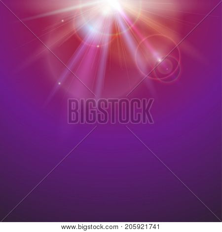 Abstract space background with beams on colored background. Bright light effect, sun rays and lens flare backdrop with copy space. Glow light effect, star burst with sparkles. Vector illustration