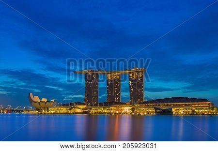 SINGAPORE CITY, SINGAPORE - FEBRUARY 16, 2017: View Of Marina Bay sands at night, Travel, Singapore on FEBRUARY 16, 2017