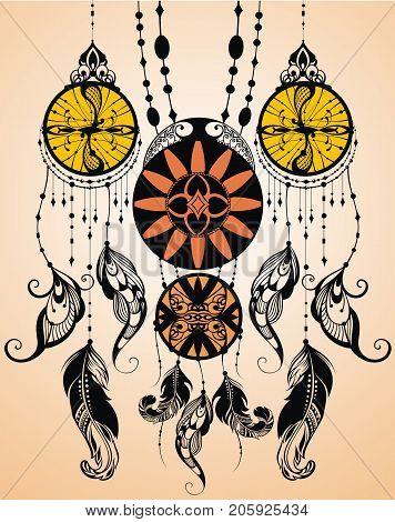 Ethnic dreamcatchers on chains, retro vector illustration