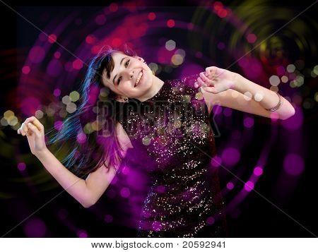 young woman dancing at disco