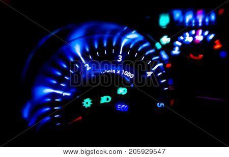 Modern Car dashboard lights at night