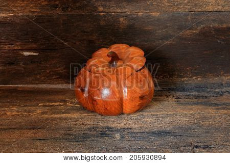 Halloween pumpkin made of wood Concept on old vintage wooden background with copy space add text ( full High definition Photo)