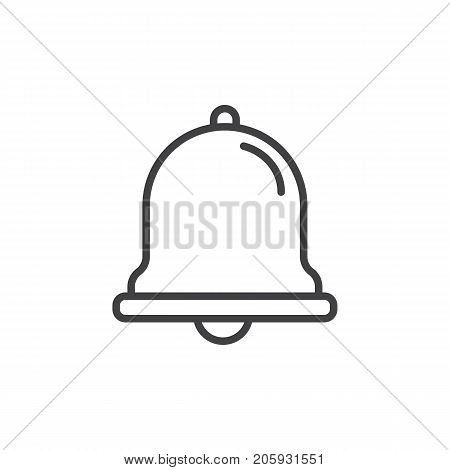 Notification jingle bell line icon, outline vector sign, linear style pictogram isolated on white. Symbol, logo illustration. Editable stroke