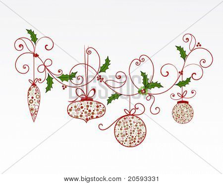 Christmas flourish and baubles (layered)