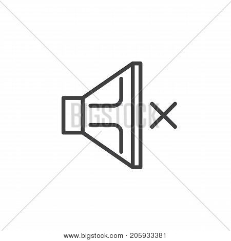 Speaker muted, sound off line icon, outline vector sign, linear style pictogram isolated on white. Symbol, logo illustration. Editable stroke