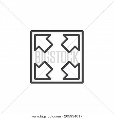 Resize button line icon, outline vector sign, linear style pictogram isolated on white. Symbol, logo illustration. Editable stroke
