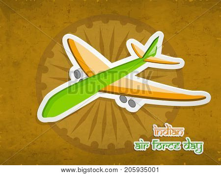 illustration of Aircraft with Indian Air Force Day text on the occasion of Indian Air Force Day