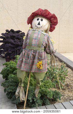 Girl Scarecrow, Kitchen Garden, Adelaide Botanic Garden