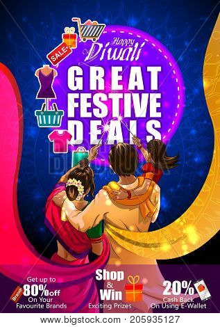 Family burning firecracke on Happy Diwali night celebrating holiday of India with festive deal background. Vector illustration