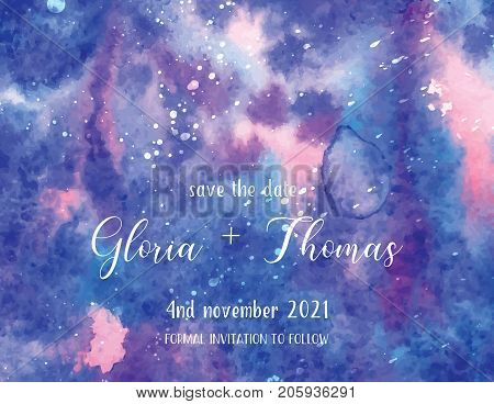 Greeting card for wedding day with space watercolor background. Art of watercolor stains of paint on watercolor paper. Grunge abstract vector background