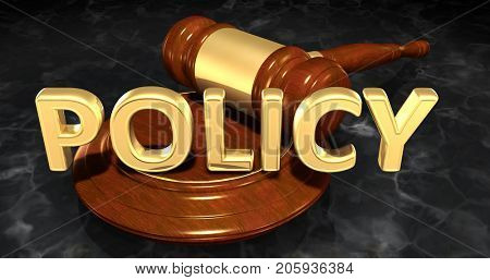 Policy Legal Gavel Concept 3D Illustration