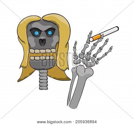 Skeleton with cigarette in hand as a symbol of danger of smoking. Cartoon illustration.