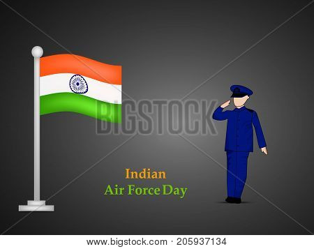 illustration of India flag and a soldier saluting with Indian Air Force Day text on the occasion of Indian Air Force Day