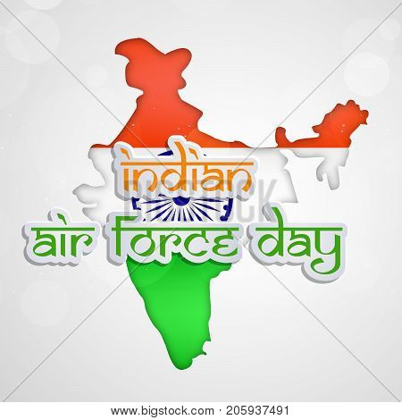illustration of India map in India flag background and Indian Air Force Day text on the occasion of Indian Air Force Day