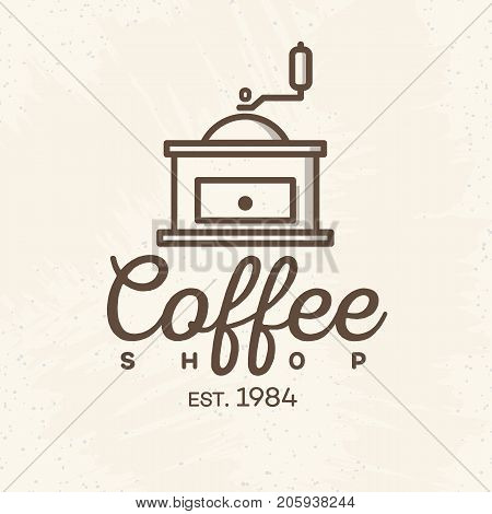Coffee shop logo with coffee machine line style isolated on background for cafe, shop. Vector design elements, logos, identity, labels, badges and other branding objects. Vector illustration.