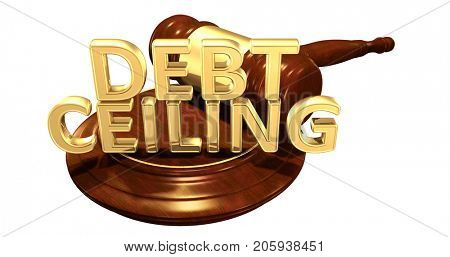 Debt Ceiling Gavel Concept 3D Illustration