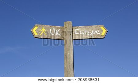 Conceptual Signpost giving the choice between UK or Europe.