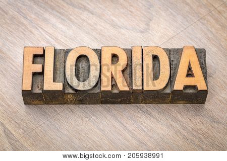 Florida word abstract in vintage letterpress wood type printing blocks