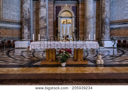 Rome, Italy - August 21, 2016: Interior view of Papal Basilica of St. Paul outside the Walls. Detail of apse. It is one of Rome's four major basilicas.