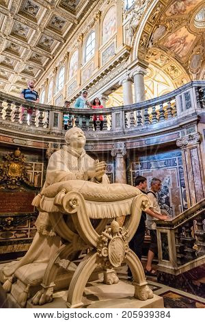 Rome, Italy - August 21, 2016: Interior view of the Papal Basilica of Saint Mary Major, also known as Santa Maria Maggiore. It is one of Rome's four  major basilicas.