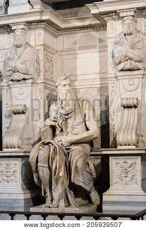 Rome, Italy - August 21, 2016: The Moses is a sculpture by the Italian High Renaissance artist Michelangelo Buonarroti, housed in the church of San Pietro in Vincoli in Rome.