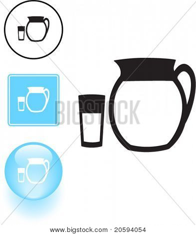 water pitcher and glass symbol sign and button