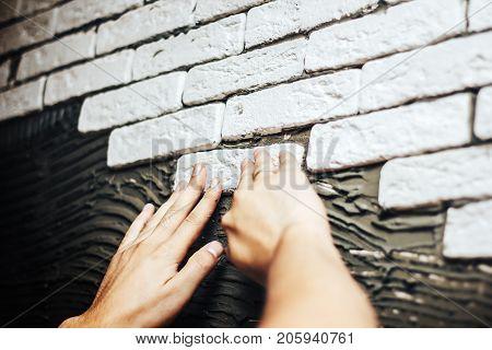 Decorative Gypsum Brick On A Wall