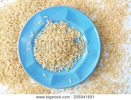 Plate of long grain brown rice on white background