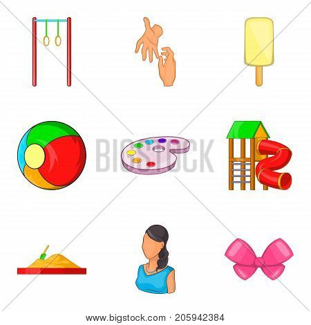 Babycare product icons set. Cartoon set of 9 babycare product vector icons for web isolated on white background