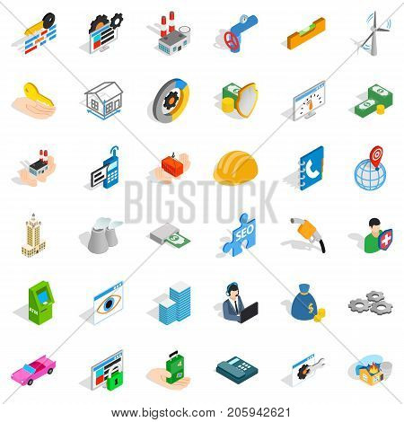 Firm icons set. Isometric style of 36 firm vector icons for web isolated on white background