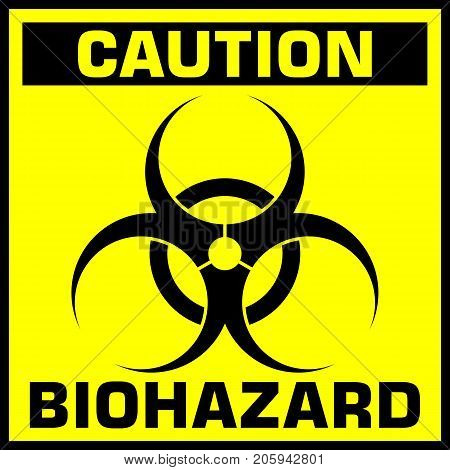 yellow caution biohazard sign or symbol. vector illustration