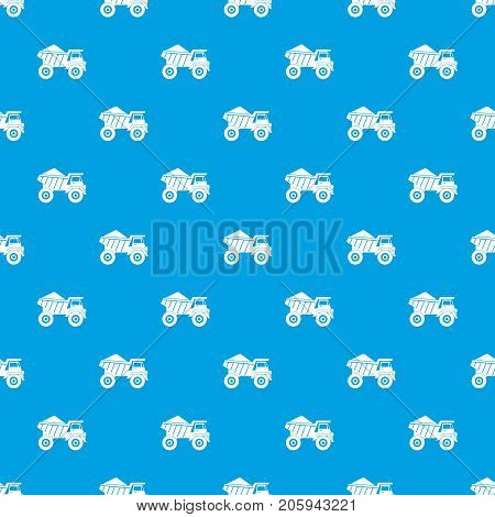 Dump truck with sand pattern repeat seamless in blue color for any design. Vector geometric illustration