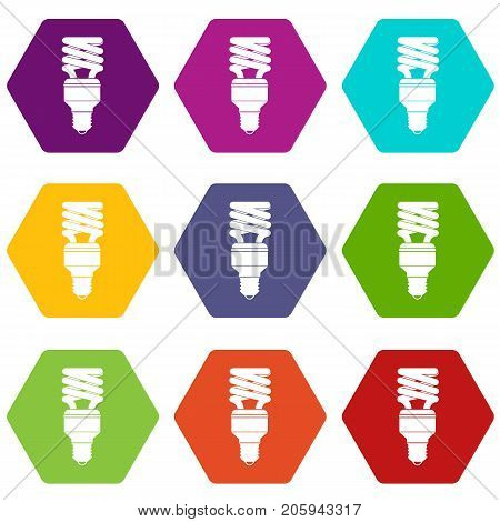 Energy saving bulb icon set many color hexahedron isolated on white vector illustration