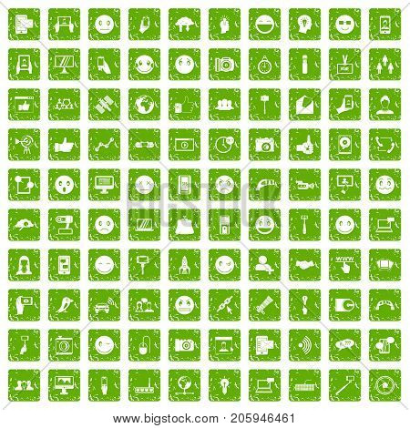 100 social media icons set in grunge style green color isolated on white background vector illustration