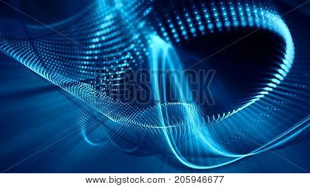 Abstract blue and black background. Fractal graphics series. Three-dimensional composition of dots, waves and rays of light. Wide.
