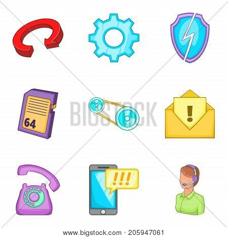 Financial aid icons set. Cartoon set of 9 financial aid vector icons for web isolated on white background