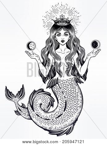 Hand drawn beautiful magic mermaid queen with long hair, heart and moon. Ocean siren in retro style. Sea, fantasy, spirituality, mythology, tattoo art, coloring books. Isolated vector illustration.