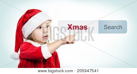 Christmas Baby in Santa Hat with WWW Address Bar. Internet Concept