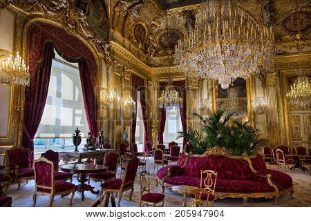 PARIS, FRANCE - JUNE 07, 2017 : Apartments of Napoleon III in Louvre Museum
