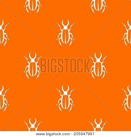 Lucanus cervus pattern repeat seamless in orange color for any design. Vector geometric illustration