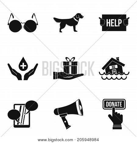Charitable foundation icons set. Simple set of 9 charitable foundation vector icons for web isolated on white background