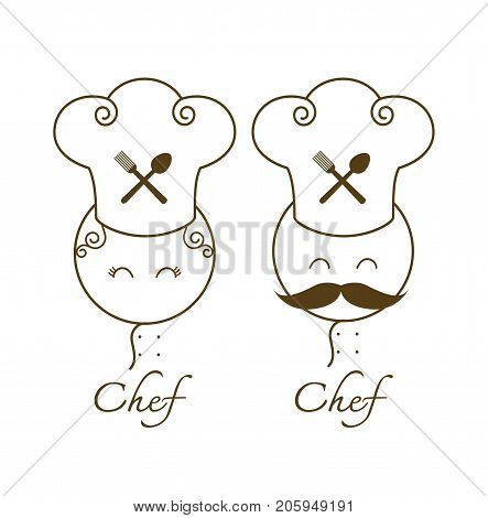 couple chef restaurant menu gourmet gastronomy cuisine kitchen pictogram Vector illustration
