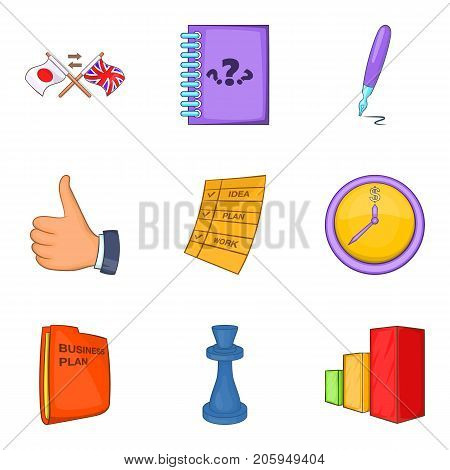 Mind game icons set. Cartoon set of 9 mind game vector icons for web isolated on white background