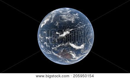 Indian and Pacific Oceans Australia Asia and Oceania behind the clouds on a realistic globe isolated Earth 3d rendering elements of this image are furbished by NASA