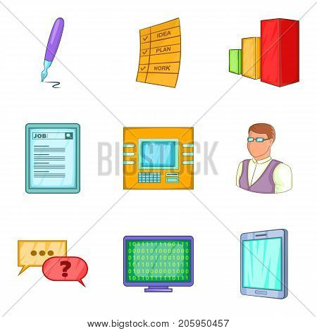 Implementer icons set. Cartoon set of 9 implementer vector icons for web isolated on white background