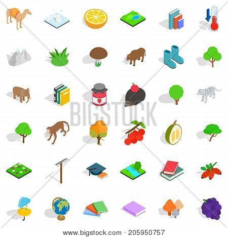 Biology icons set. Isometric style of 36 biology vector icons for web isolated on white background