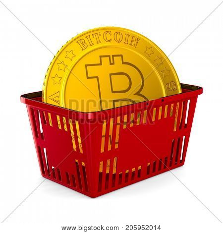 bitcoin in red shopping basket on white background. Isolated 3d illustration