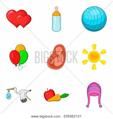 Pregnancy icons set. Cartoon set of 9 pregnancy vector icons for web isolated on white background