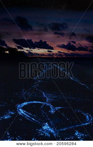 Heart on the beach from bioluminescent algae Noctiluca Scintillans on the Maldivian islands.