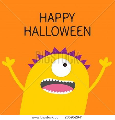 Happy Halloween card. Screaming spooky yellow monster head silhouette. One eye teeth tongue hands. Funny Cute cartoon character. Baby collection. Flat design. Orange background. Vector